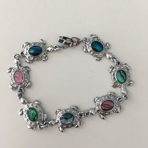 "Jewelry - JEWELRY - turtle - silver multi color 9"" bracelet"